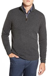 Men's Big And Tall John W. Nordstrom Quarter Zip Cashmere Sweater Grey Dark Charcoal Heather