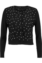 Giambattista Valli Appliqu And Eacuted Wool And Cashmere Blend Cardigan Black