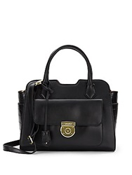 London Fog Crocodile Embossed And Matte Faux Leather Satchel Black