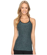 Beyond Yoga Slim Racerback Cami Black Teal Spacedye Women's Sleeveless Blue