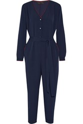 Hatch The Emmanuelle Embroidered Crepe Jumpsuit Midnight Blue
