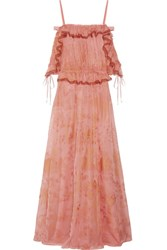 Valentino Off The Shoulder Ruffled Printed Silk Chiffon Gown Antique Rose
