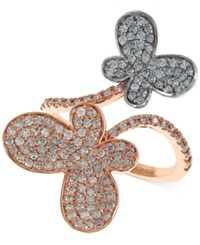 Effy Collection Effy Diamond Butterfly Ring 1 1 8 Ct. T.W. In 14K Rose Gold And 14K White Gold