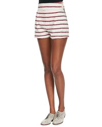Band Of Outsiders High Waisted Striped Short Shorts Red