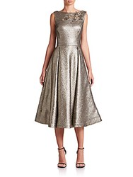 Rickie Freeman For Teri Jon Embellished Metallic Cocktail Dress Gold