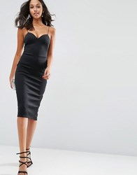 Asos Scuba Strappy Midi Pencil Dress Black