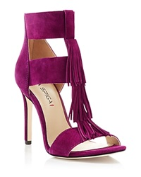 Via Spiga Eilish Fringe T Strap High Heel Sandals Bright Plum