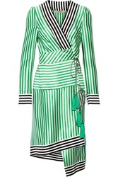 Etro Asymmetric Striped Silk Wrap Dress Green