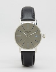 Simon Carter Leather Watch In Silver Grey Black