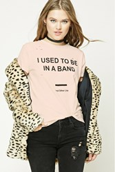 Forever 21 Distressed Graphic Tee Pink