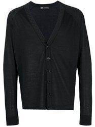 Versace V Neck Cardigan Black