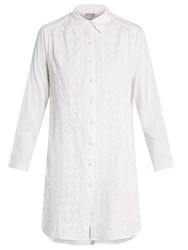 Juliet Dunn Floral Embroidered Cotton Shirtdress White