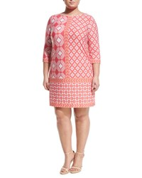 Taylor Plus Mixed Print Jersey Shift Dress Pink Orange
