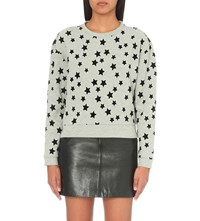 Maje Tiana Cotton Blend Sweatshirt Grey