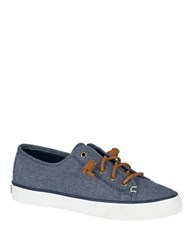 Sperry Seacoast Linen Chambray Sneakers Navy Blue