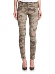 True Religion Halle High Rise Distressed Camo Print Skinny Jeans Destroyed Camo