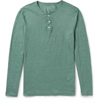 Hartford Linen Henley T Shirt Green