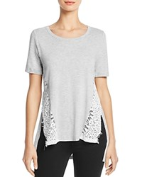 French Connection Hopper Lace Inset Tee Light Grey Melange