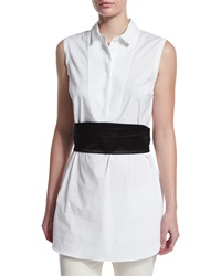 Brunello Cucinelli Sleeveless Poplin Tunic Blouse Black White