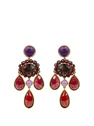 Brigid Blanco Garnet Amethyst And Yellow Gold Earrings Purple