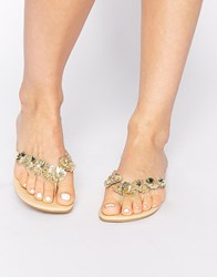 Oasis Gold Flower Toe Post Flat Sandals