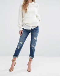 Blank Nyc Crop Girlfriend Jean With Raw Hems And Rips Blue