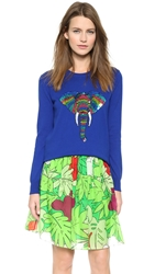 Markus Lupfer Rainbow Sequin Elephant Natalie Sweater Congo Blue