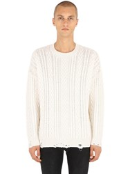 The Kooples Distressed Cashmere Blend Cable Sweater White