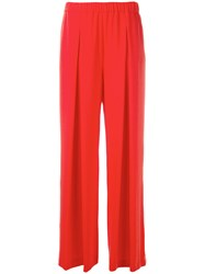 P.A.R.O.S.H. Pleated Palazzo Trousers Women Polyester M Red