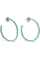 Cz By Kenneth Jay Lane Woman Rose Gold Plated Crystal Hoop Earrings Emerald