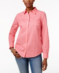 Charter Club Textured Windowpane Shirt Only At Macy's Taffy Pink
