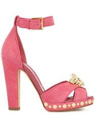 Alexander Mcqueen King Skull Sandals Pink And Purple