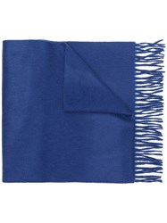 Begg And Co Fringed Edge Scarf Blue