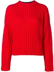 Jil Sander Navy Long Sleeve Fitted Sweater Red
