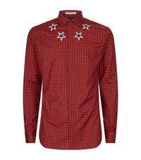 Givenchy Gingham Star Neckline Shirt Male Red