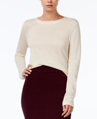 Bar Iii Cropped Metallic Knit Top Only At Macy's Natural Combo