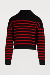 Celine Cropped Sailor Knit Sweater Black Red