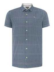 Duck And Cover Gingham Classic Fit Short Sleeve Button Down Shir Dark Blue