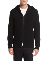 Vince Textured Waffle Knit Zip Front Hoodie Black