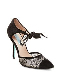 Betsey Johnson Reese Suede And Lace Pumps Black