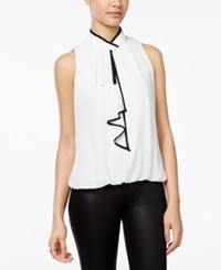 Amy Byer Bcx Juniors' Piped Bow Top Off White