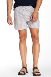 Parke And Ronen Linen Vintage Mid Thigh Volley Short Brown