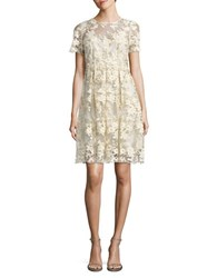 T Tahari Antonette Floral Lace Dress Ivory Gold