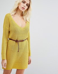 Goldie No Other Way Knitted Jumper Dress With Belt Yellow