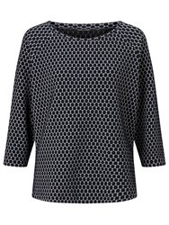 Gerry Weber 3 4 Sleeve Spot Jacquard Top Navy White