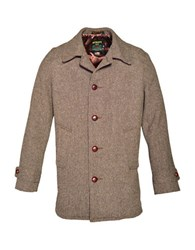 Schott Nyc Classic Fit Retro Wool Tweed Car Coat Brown