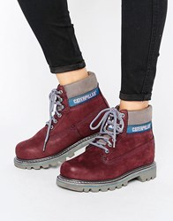 Cat Footwear Colorado Lace Up Flat Boot Wine Sassafrass Red