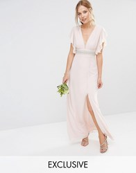 Tfnc Wedding Fluted Sleeve Embellished Waist Maxi Dress Peach Blush