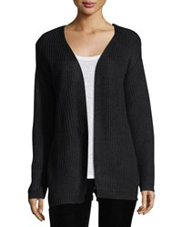 Dex Melange Knit Cardigan W Lace Up Back Black