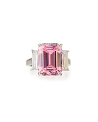Fantasia Emerald Cut Pink Cz Cocktail Ring 6 1 2
